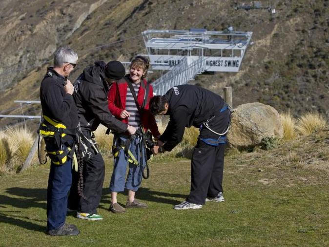 Bungee jump readiness in Queenstown, New Zealand