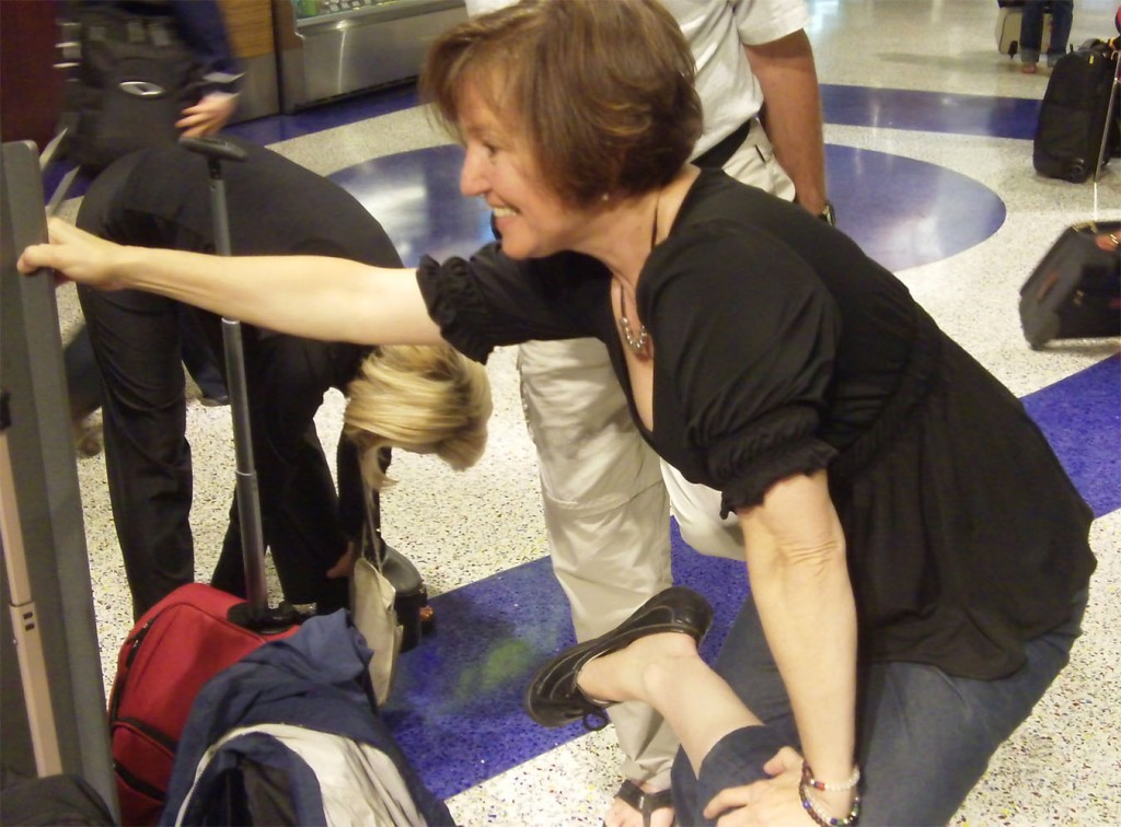 Stretching in the airport before a long flight.