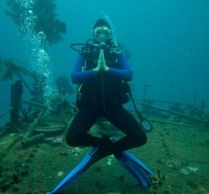 Elaine on deck in Fiji scuba diving with Chuck Nicklin