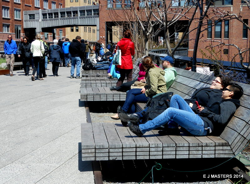 Highline Park recliners, NYC, trip wellness, walking tours in new york