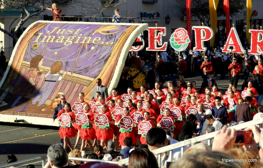 Visiting the Rose Parade, trip wellness, opening float