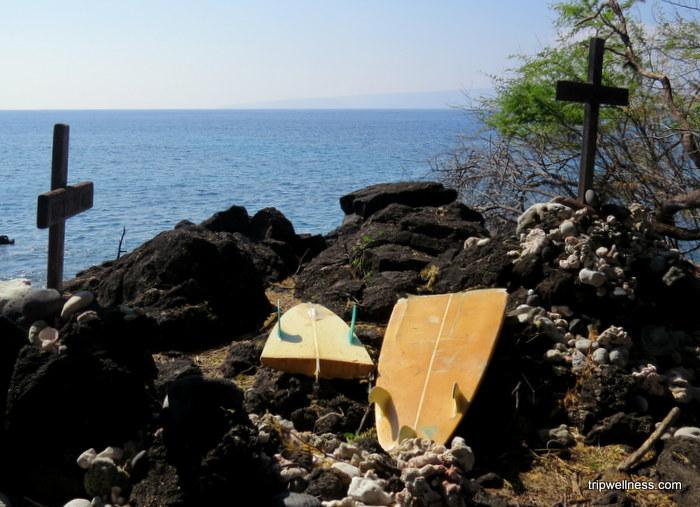 surfboard memorial, La Perouse Bay, Maui South Shore