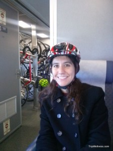 Bicyclist on the Capitol Corridor, trip wellness