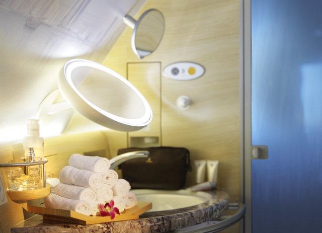 Emirates, First class shower stall, trip wellness