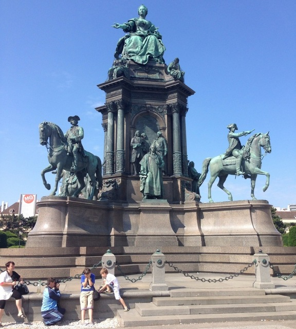 Theresien Platz in the city of horses. Vienna historical hotels