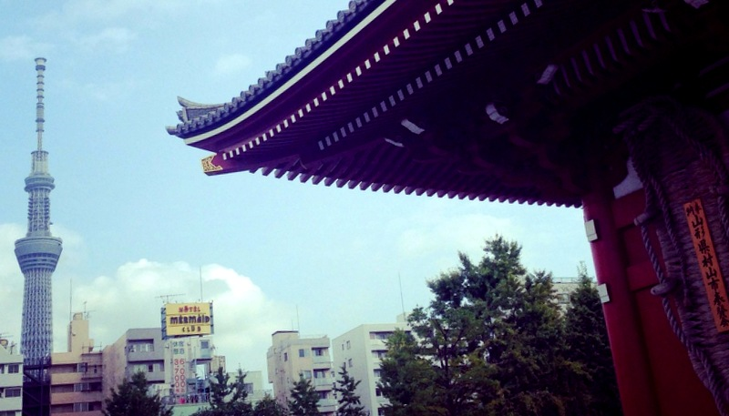 Tokyo Skytree towers above temples and all.