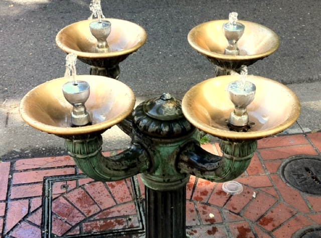 Benson Bubbler Fountain, Portland food tour.