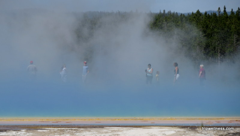 Getting misty at the Grand Prismatic Spring in Yellowstone