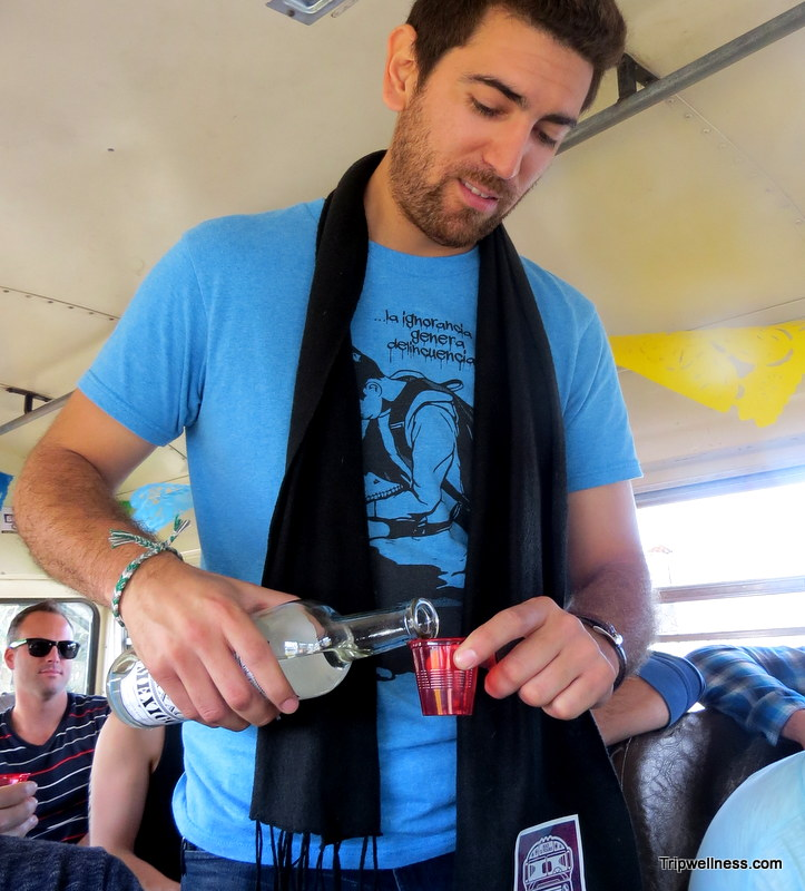Tequila shots offered on the Turiste Libre Bus.