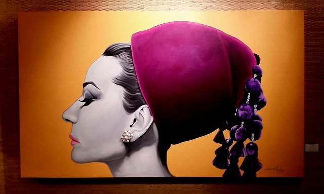 Audrey Hepburn multi-media artwork in the lobby at the Atlantic Hotel, Fort Lauderdale