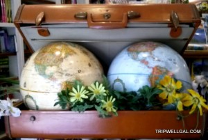 globes inside luggage as part of book reviews
