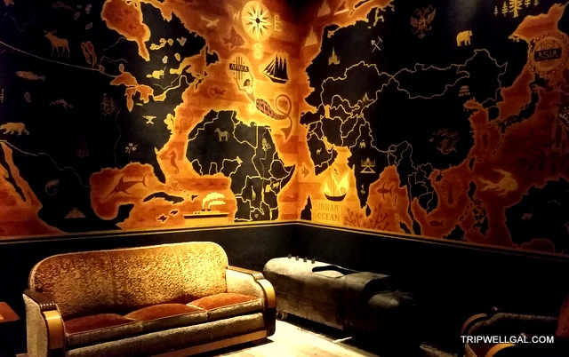 Map room in the upstairs bar at Clifton's downtown LA