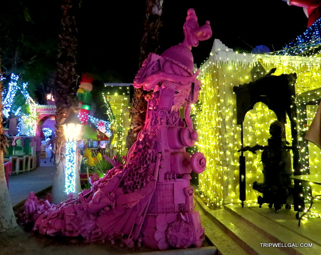 towering goofy robolights holiday lights display