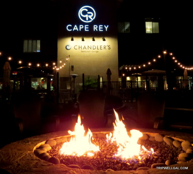 Cape Rey resort has fire pits to enjoy on your get away