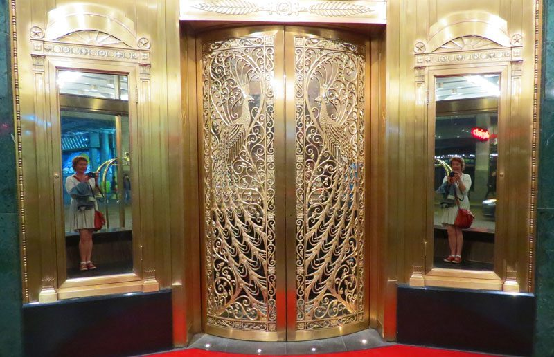 Tiffany's Peacock Doors inside the Palmer Hotel.