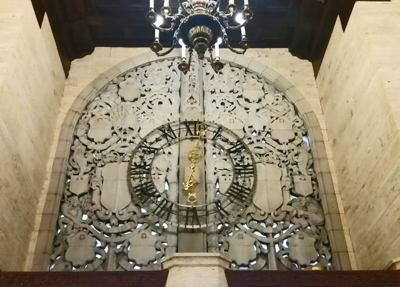 The clock inside the historic newspaper building of the Chicago Tribune.
