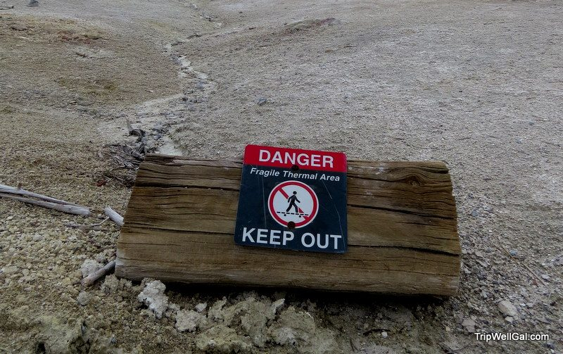 Enter at your own risk sign in Yellowstone Park