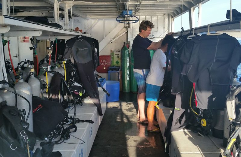 Prepping gear on the Palau kSport dive boat