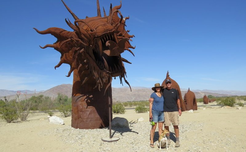 Jim and Tina Kurtz, nomads in the desert, and the Galleta Meadows Sculptures in Anza Borrego, California