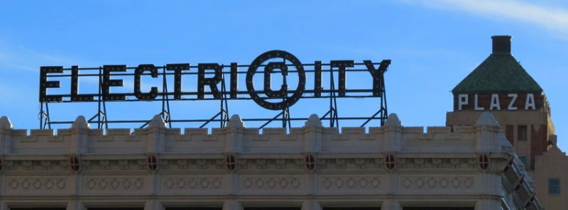 Refurbished Electricity Sign in downtown El Paso