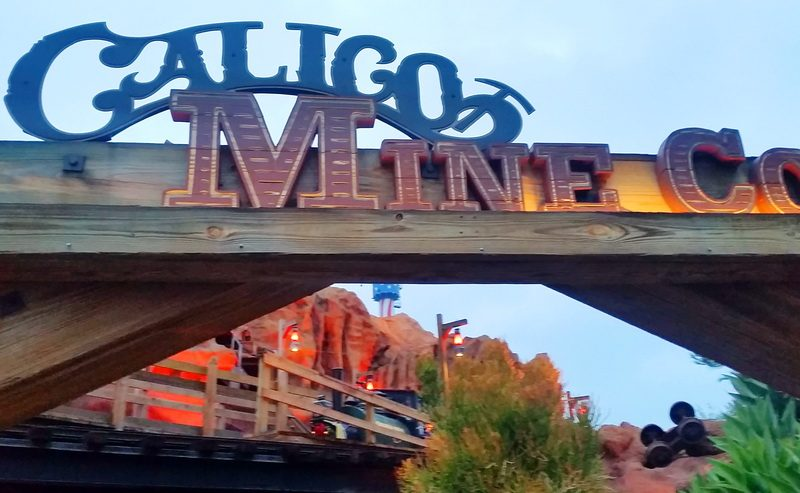 Ride the train through the Calico Mine