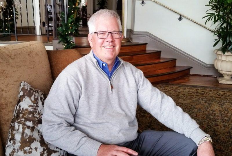 David Stivers in the Lodge lobby of the Pebble Beach golf resort.