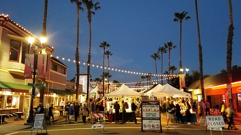 The west entrance to the night market, one of the best places to eat in Oceanside