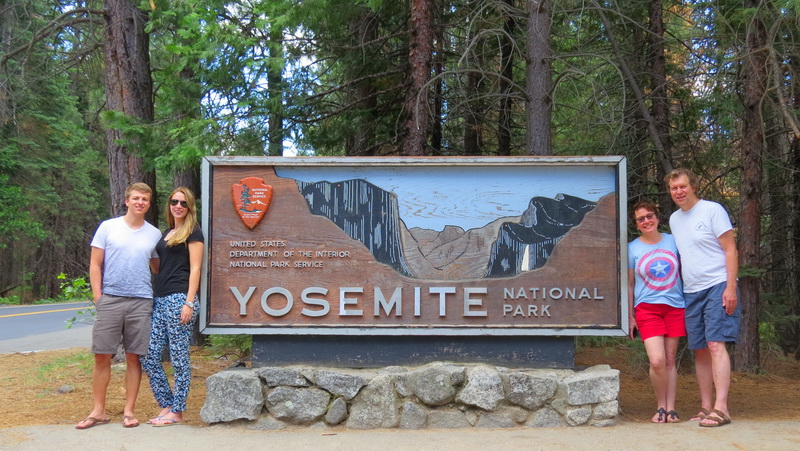 Yosemite entrance sign on a US National Parks Road Trip