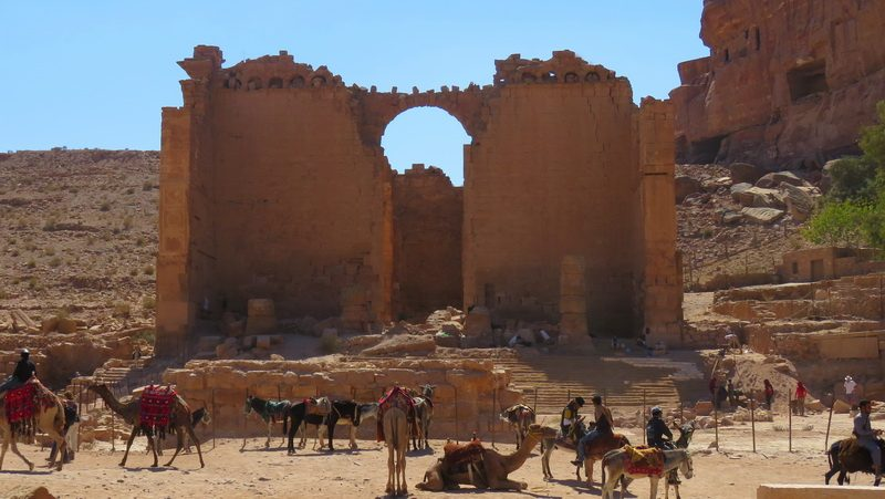Partial excavation inside Petra