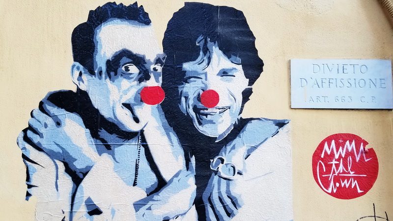 Mural in Rome featuring Mick Jagger