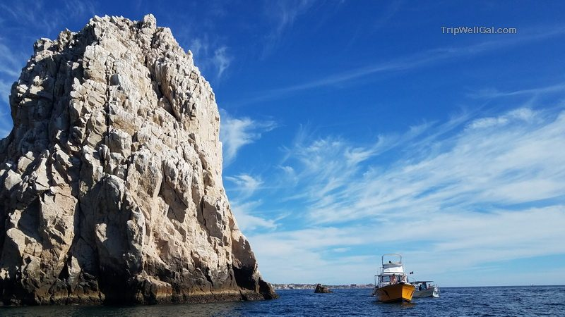 The towering rocks of Los Arcos from our Dive Cabo boat