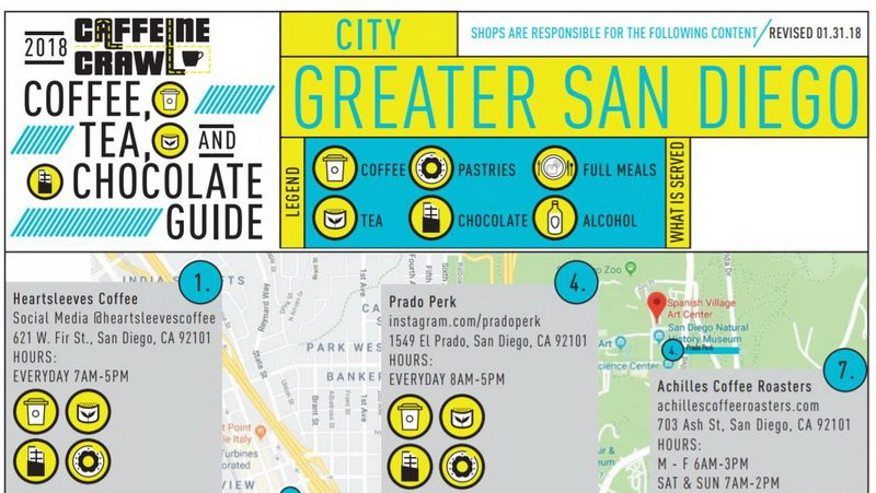 San Diego Caffeine Crawl Map for the 2018 Tour