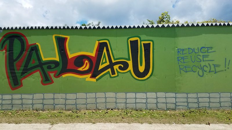 Palau recycling center mural