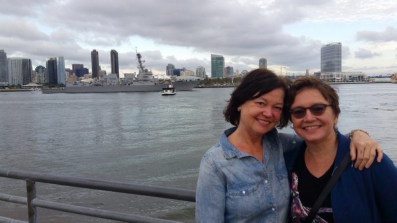 My thrifting partner and sister, Julie and me overlooking the San Diego harbor.
