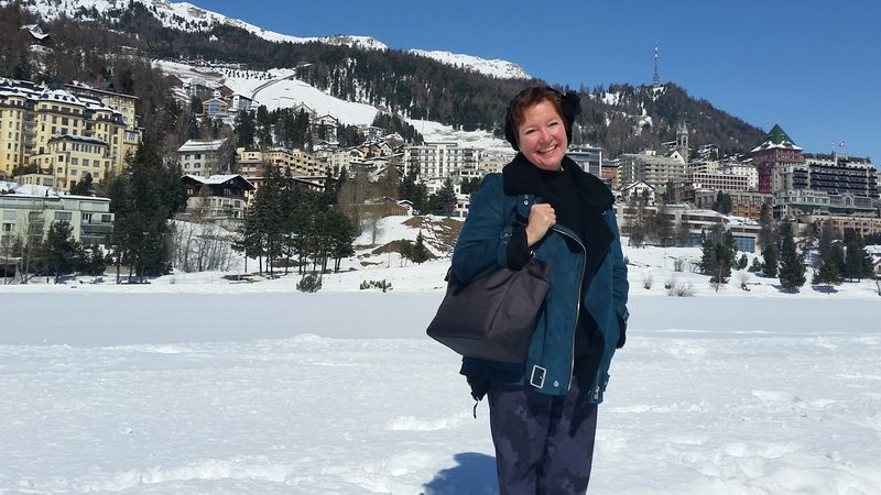 Elaine on the frozen lake during a St. Moritz winter