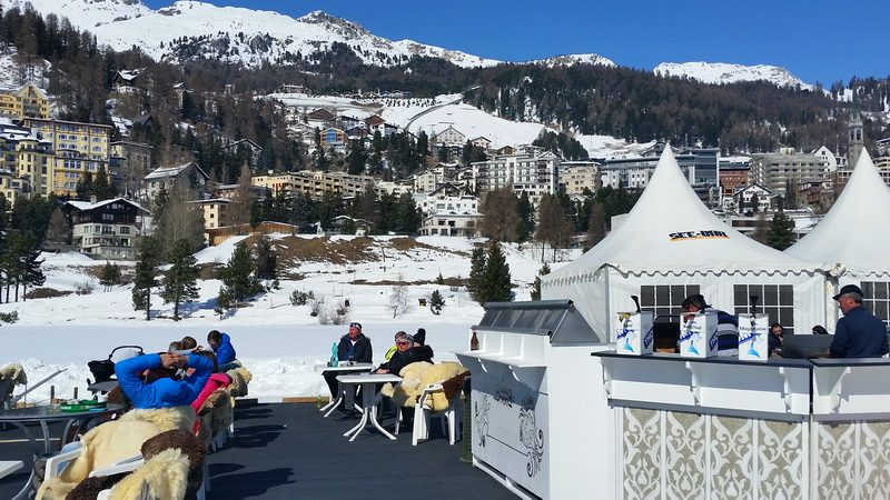 The impromptu cafe in the middle of St. Moritz winter.