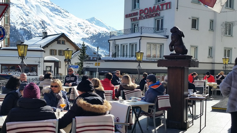 cafe crowd in St. Moritz