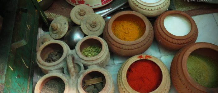 Spice pots inside the guest house in Jodhpur