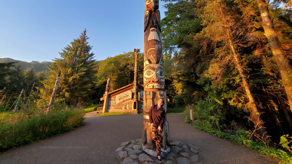 Totem Bight at sunset is one of the top Ketchikan things to do in Alaska