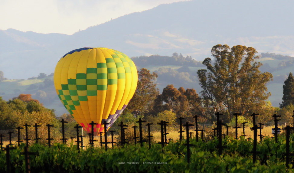 A hot air balloon settles near the Dutton Ranch
