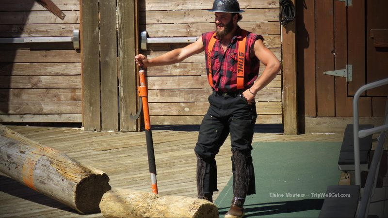 A moment during the raucus Great Alaska Lumberjack Show on the site of the original Ketchikan Sawmill