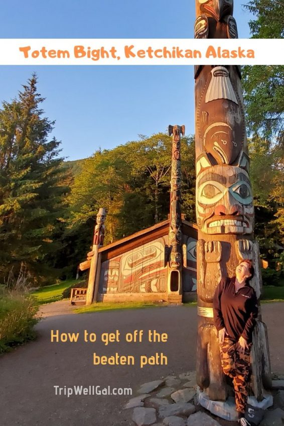 Totem Bight at sunset in Ketchikan, Alaska