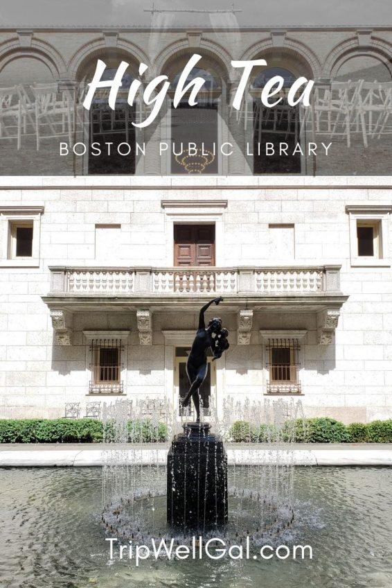 Boston Public Library waterfall fountain in the courtyard atrium