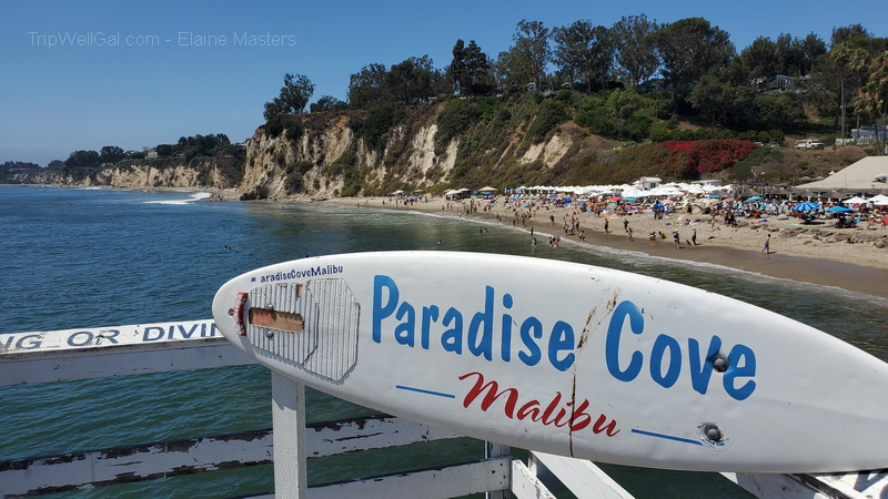 Glimpse of the cliffs and swimmers from the Paradise Cove Pier