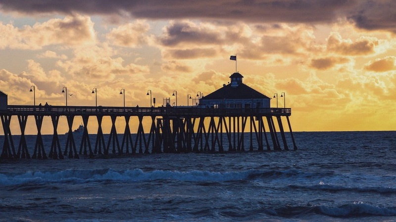 imperial beach pier at sunset