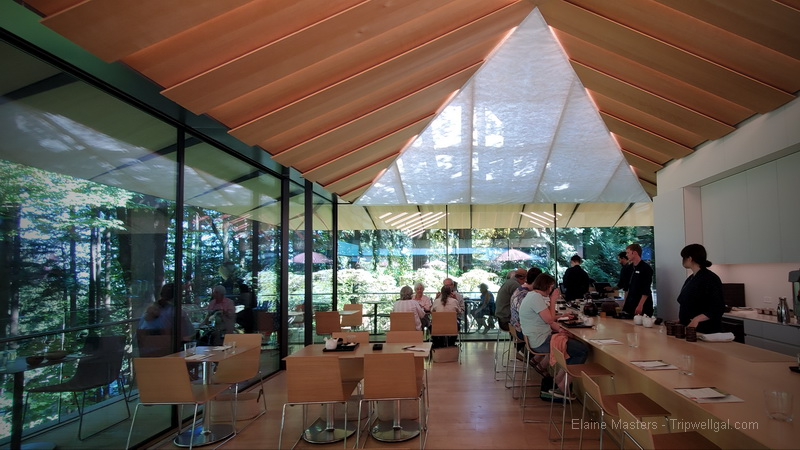 Inside the tea house in the Portland Japanese Garden
