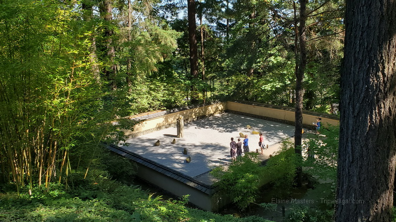 Looking down on the Sand and Stone Garden in the Japanese landscape of the Portland Japanese Garden