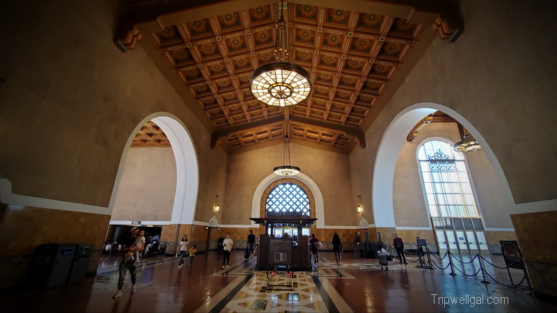 union station in Los Angeles with its tall ceiling and Spanish Revival touches.