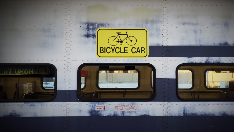 Bicycle car on Metrolink from LA