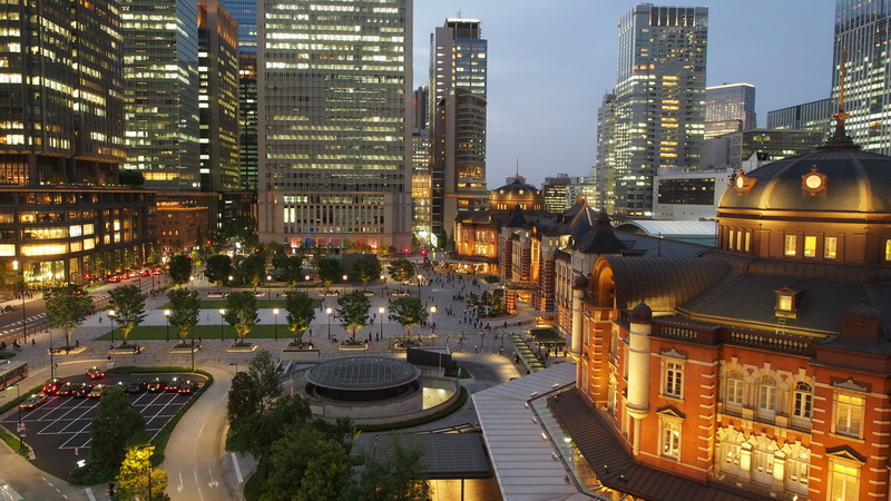 Tokyo view from the rooftop garden of the old Post Office, now Tokyo Station Marunouchi Building Wiki Images